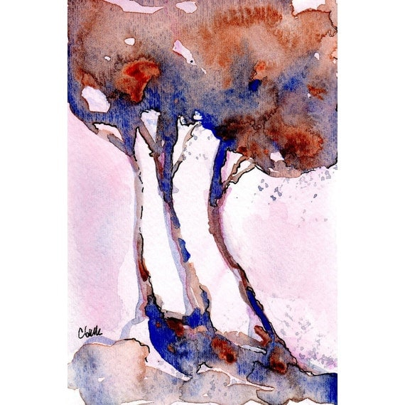Shade Watercolor of Blue and Orange Trees Original Painting   4x6 Matted to 8x10