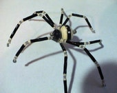 Unique OOAK Artisan Lampwork Bead Glass Spider Suncatcher w\/Christmas Spider Story - Black, Ivory, Silver