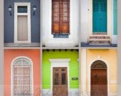 door photography, collection of six doors, old san juan, colorful, yellow, green, teals, purple, mantle art, kitchen art, large wall art