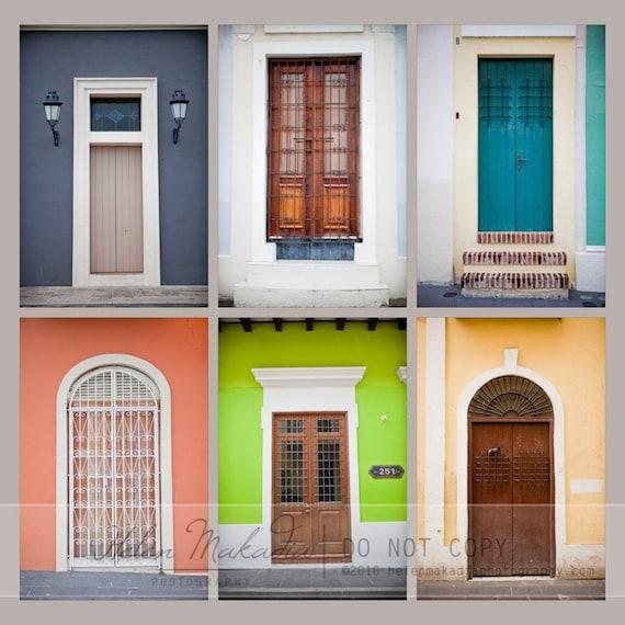 Old San Juan Wall Decor : Items similar to door photography collection of six doors