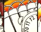 Button, Bomb, BOOM - OOAK - Original Fine Art Painting