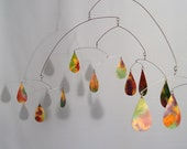 Rain Drops in Earth Tones Watercolor - Kinetic Mobile Sculpture by Skysetter Designs