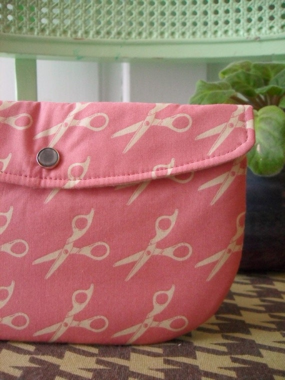 One of a Kind Snap Clutch - Scissors in Pink
