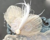 Bridal Head Piece, Bridal Hair Accessory PURE - Ivory Feather Headpiece