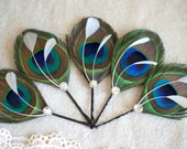5 Wedding Hairpieces, Bridesmaid Gifts, Peacock Hair Accessories, Bridesmaid Hair Accessories - cerulean royal blue, hunter emerald green