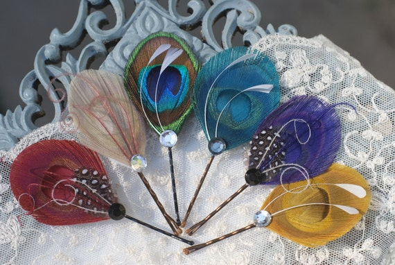 Peacock Feathers Hair Accessories  - Peacock Hair Pins - Set of 3 - YOU CHOOSE - red ivory blue turquoise purple yellow - Unique Gift Ideas
