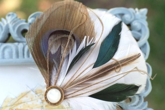 WOODLAND BEAUTY Feather Fascinator - Hair Clip  Peacock, Hair Piece, Accessory - chocolate mocha brown forest hunter green - gift ideas