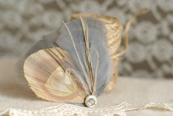 Feather Hairpiece, Peacock Hair Accessory, Feather Fascinator PLATINUM - Grey and Ivory - boho, bohemian, rustic, natural
