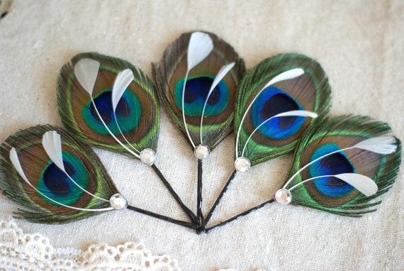 5 Wedding Hairpieces, Bridesmaid Gifts, Peacock Hair Accessories, Bridesmaid Hair Accessories - cerulean royal blue, hunter emerald green