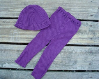Upcycled Stretch Knit Baby Girls Leggings Pants and Hat Set in Solid Purple - Emelia 615