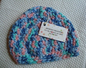 SALE - Beanie Style Crocheted Multi Colored Baby Hat - 69