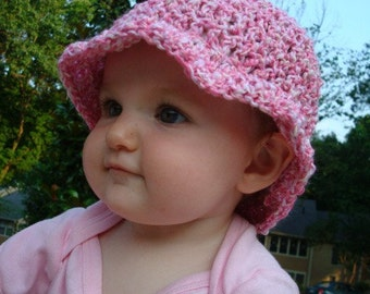 Pink and White Swirl - Hand-Stitched Baby Girl's Sunhat - Candycane 324