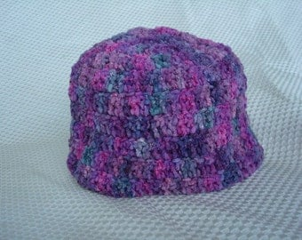 Silky Soft, Crocheted Cotton Velour Chenille Toddler Hat - Purple Sparkle 418