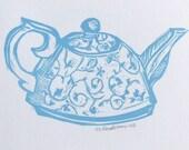 SALE  little BLUE teapot original linocut print