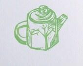 tiny teapot linocut print