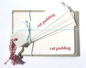 Letterpress  Eat Pudding Christmas notecards and tags pack