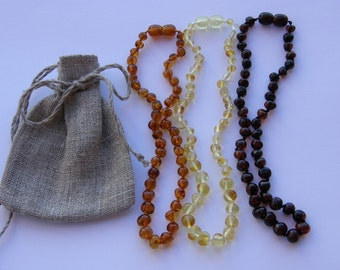 Gift pack 3 amber teething necklaces - free linen gift bag