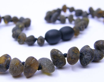 Raw amber teething necklace for baby boys