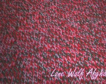 Hand knitted afghan/laprobe Red Heart Candy Cane color