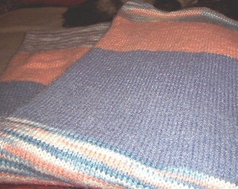 Hand Knitted Caron Dazzleaire twin size afghan