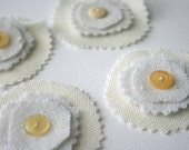 Vintage Fabric Posies - Lemon Drop Yellow - Shabby Chic Upcycled Flower Embellishments