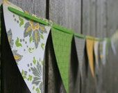 Shabby Chic Pennant Banner Bunting - Lemon Flower - Yellow Lime Green Silver Glitter - Party Decoration Home Decor Photo Prop