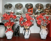 3 Custom Paintbrush Bouquets - Paper Flowers in Vase Shabby Chic Home Decor Gift Wedding Centerpieces