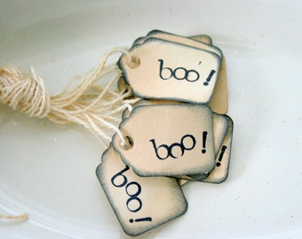 Mini Halloween Gift Tags - Boo - 10 pc. Set - Handmade Shabby Chic Distressed and Stamped