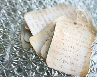 1000 Stamped Dictionary Tag Set - Vintage Dictionary Print - Distressed and Stamped Tea Stained Gift Tags Wedding Favors Home Decor