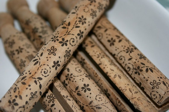 Vintage Style Wooden Clothespins - Stamped and Distressed - Espresso Blossoms - Shabby Chic Home Decor