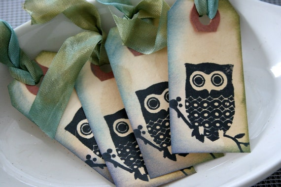 Owl Tags with Vintage Ribbon - Set of 25 - Vintage Chic Gift Tags
