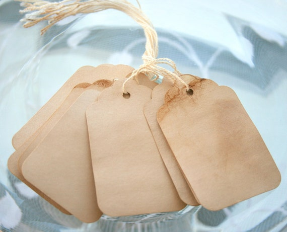 Shabby Chic Gift Tags - 10 Piece Set - Hang Tag Tea Stained Distressed Lot - Large