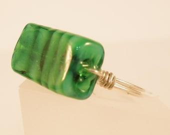 Size 8 Green Rectangular Glass Ring