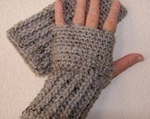 Crocheted Fingerless Gloves / Wrist Warmers - Gray Marble