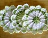 A Trio of Crocheted Scalloped Dishcloths / Washcloths - Key Lime