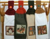 Crocheted Thanksgiving Hanging Appliqued Kitchen Towels  - Set of 4
