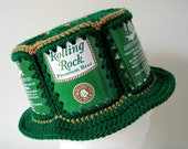 Crocheted Beer Can Hat - Rolling Rock