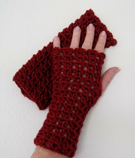 Crocheted Lacy Fingerless Gloves - Rich Red