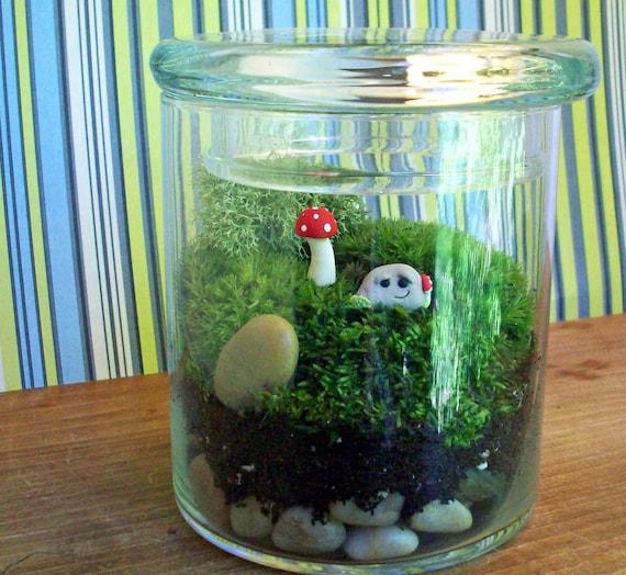 Jar with Whimsical Rock and Mushroom