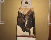 Two Horses Kissing Crocheted Top Towel-KOE12