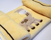 Giraffe Yellow Chenille Receiving Blanket, Boy, Girl, Baby, Infant, Bed, Blanket, Shower Gift, Soft, Brown