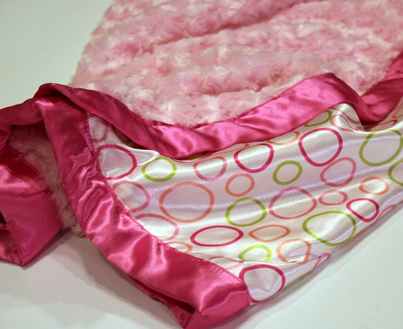 Satin pink polka dot Receiving Blanket, pink chenille, girl, baby, toddler, bedroom, bed, crib, nursery, gift