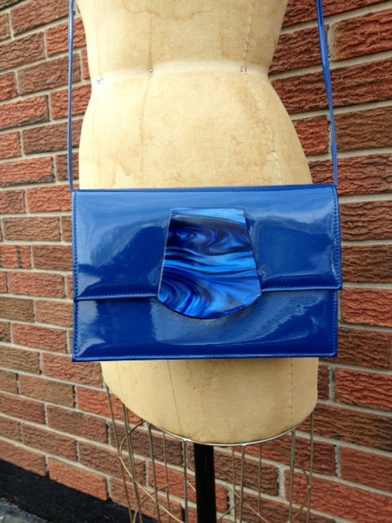 Cool 80s vintage cobalt blue faux patent leather and lucite cross body purse vegan