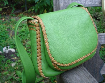 "Granny Apple Green Braided Leather Bag, ""Nelson"" Bag,"