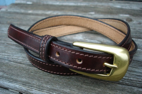 Woman's Handmade Custom Leather Harness Belt, Dark Brown with Brown Stitching and Brushed Brass Buckle