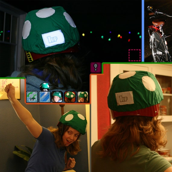 1-Up Mushroom Bicycle Helmet Rain Cover -- It gives you an extra life