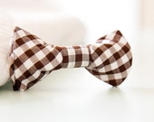 Brown Gingham Bow Tie for child clip-on