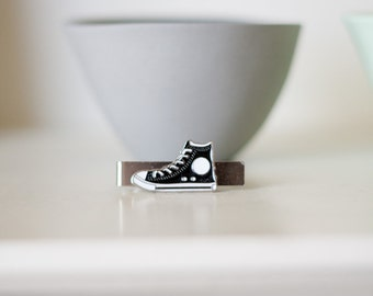 Converse Style Shoe Tie Clip for Child or Adult- Black Enamel Chucks for boy or man