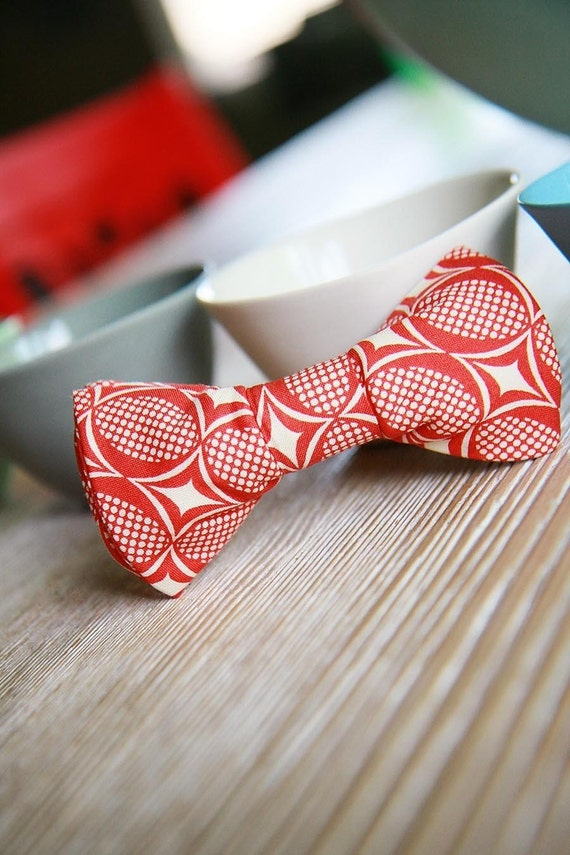 Bow Tie For Child- Red and White Oval -Zotz