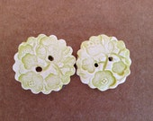 2- Lime Green Cherry Blossom Handmade Ceramic Buttons